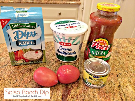 Salsa Ranch Dip | Can't Stay Out of the Kitchen | delicious 5-ingredient #Tex-Mex #appetizer that's great for #tailgating parties. Made with #ranchdressingmix. #salsa