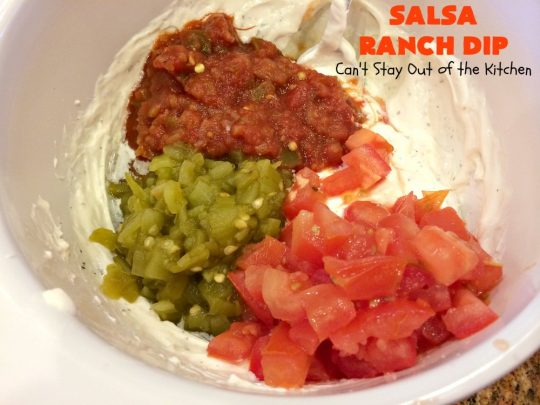 Salsa Ranch Dip | Can't Stay Out of the Kitchen | this fantastic #appetizer has only 5 ingredients. It's quick & easy to make & has delicious #TexMex flavors. Wonderful for #tailgating or #SuperBowl parties, potlucks or #holiday fare like #NewYearsDay. #salsa #GreenChilies #RanchDressingMix #SalsaRanchDip