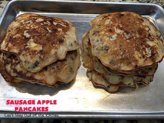 Sausage Apple Pancakes | Can't Stay Out of the Kitchen | these fantastic #ButtermilkPancakes include #sausage & sauteed #apples. They are so delicious, so hearty, so filling & so satisfying that your family will want these on your regular #breakfast menu. We served them to company for dinner! Terrific for #holidays like #Thanksgiving or #Christmas. #pork #pancakes #HolidayBreakfast #SausageApplePancakes