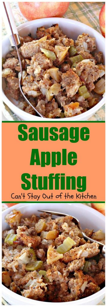 Sausage Apple Stuffing | Can't Stay Out of the Kitchen | this fantastic #stuffing is the perfect #sidedish for #holidays like #Christmas, #Thanksgiving or #Easter.