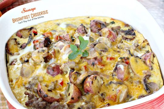 Sausage Breakfast Casserole | Can't Stay Out of the Kitchen | this fabulous #breakfast #casserole is #glutenfree and filled with #sausage #potatoes #mushrooms bell peppers and #cheese and seasoned to perfection!