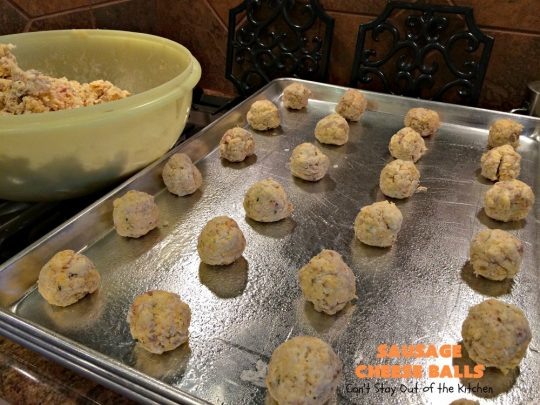 Sausage Cheese Balls | Can't Stay Out of the Kitchen | these fantastic #SausageBalls are terrific as an #appetizer for #Tailgating parties, potlucks or the #SuperBowl! They're also wonderful for #Breakfast. #Holiday #HolidayBreakfast #HolidayAppetizer #pork #Sausage #CheddarCheese #Bisquick