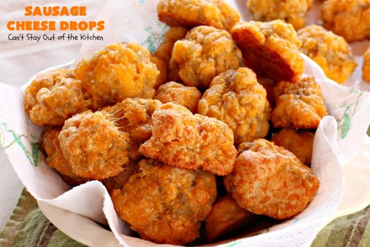 Sausage Cheese Drops | Can't Stay Out of the Kitchen | fabulous, easy 4-ingredient #recipe that spells comfort food! This one is terrific for a #holiday #breakfast like #NewYearsDay or any other time during the year! #sausage #SausageBalls #Bisquick #appetizer #cheddarcheese #HolidayBreakfast #SausageAppetizer #pork