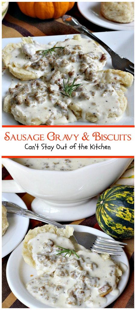 Sausage Gravy and Biscuits | Can't Stay Out of the Kitchen | this fantastic #breakfast #entree is wonderful served over homemade biscuits and is great for #holidays or country breakfasts. #sausage