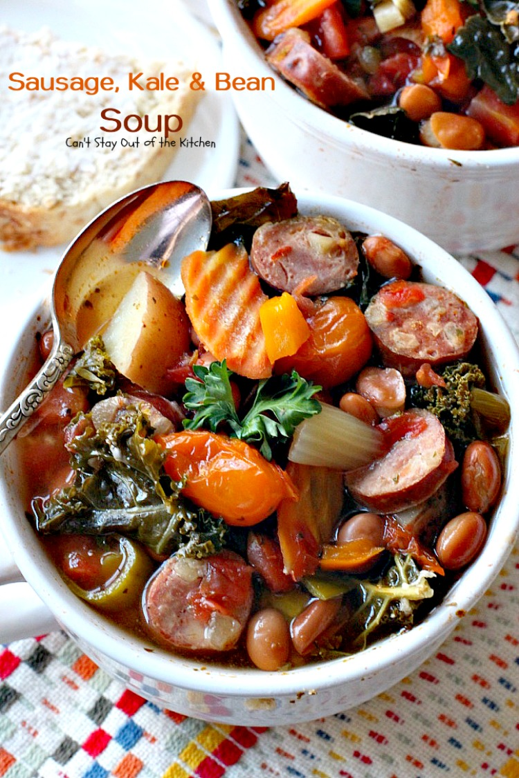 Slow Cooker Sausage, Kale and Bean Soup | Can't Stay Out of the Kitchen | this delicious #soup uses #chicken #sausage & lots of fresh #veggies. Plus it's made in the #slowcooker so it's quick & easy. Healthy, low calorie & #glutenfree.