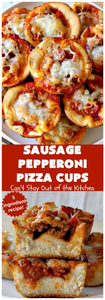 Sausage Pepperoni Pizza Cups | Can't Stay Out of the Kitchen | these outrageous miniature #pizzas are terrific for #holiday parties, #NewYearsDay, #tailgating parties & the #SuperBowl. This amazing 5-ingredient #recipe will rock your world! Every bite is sumptuous & irresistible. #sausage #pepperoni #MozzarellaCheese #MiniaturePizza #SausagePepperoniPizzaCups