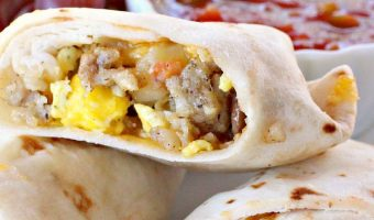 Sausage, Potato and Veggie Breakfast Burritos