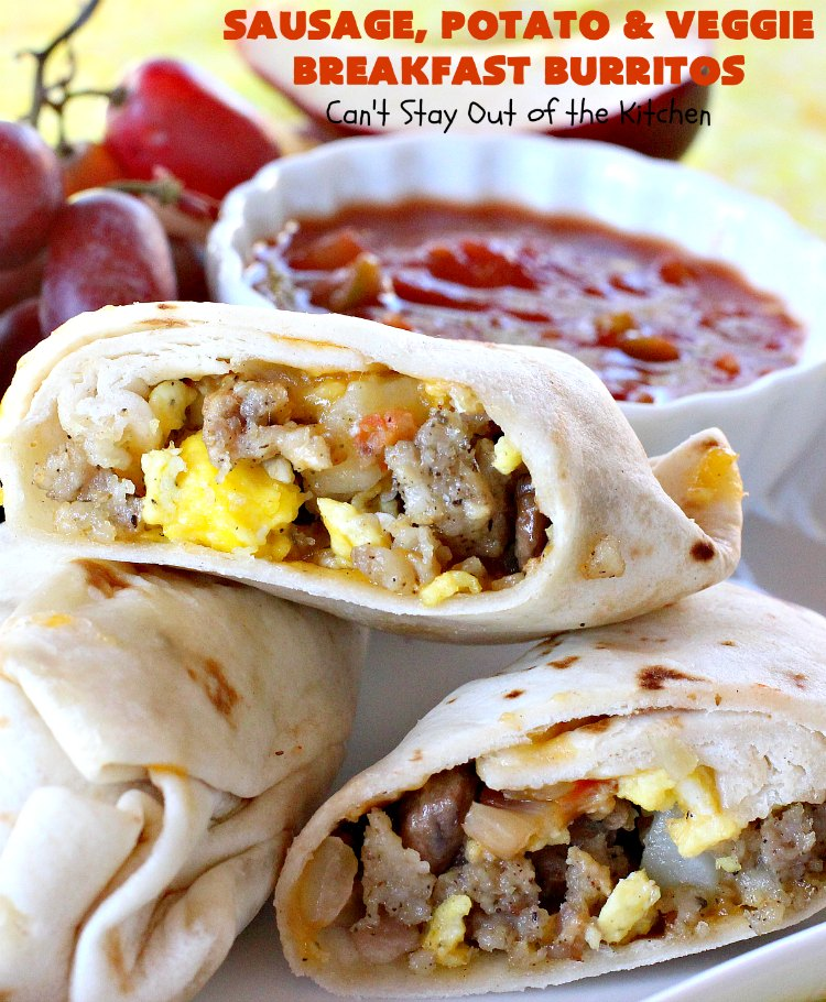 Sausage, Potato and Veggie Breakfast Burritos | Can't Stay Out of the Kitchen | these #BreakfastBurritos are fantastic. Every mouthful will have you drooling. Plus, they can be made up in advance & then popped in the microwave before heading out to work! #sausage #pork #eggs #cheese #potatoes #mushrooms #tortillas #TexMex #breakfast #HolidayBreakfast #SausagePotatoAndVeggieBreakfastBurritos