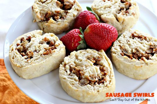 Sausage Swirls | Can't Stay Out of the Kitchen | Terrific #brunch idea for the #holidays. Roll up cooked #sausage in pie crust, bake & voila! You have the best #breakfast imaginable. #HolidayBreakfast #ChristmasBreakfast #NewYearsDayBreakfast #pork #SausageBreakfast