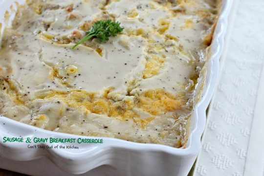 Sausage and Gravy Biscuit Casserole | Can't Stay Out of the Kitchen | one of the BEST #breakfast #casseroles you'll ever eat. This one tastes just like eating #sausage #biscuits and #gravy!