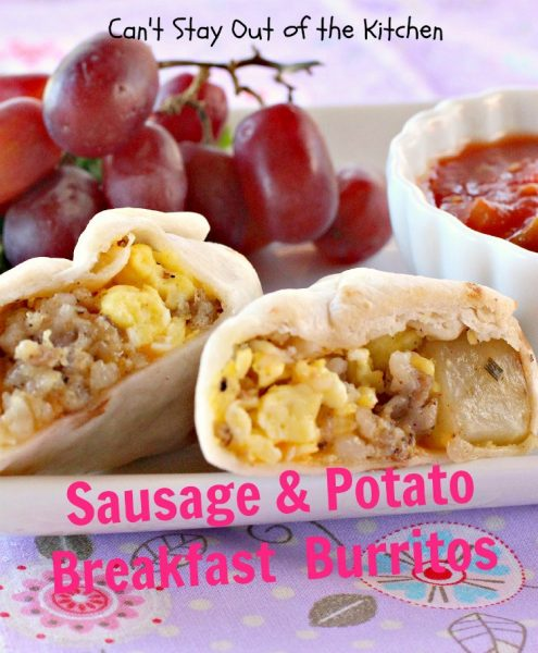 Sausage & Potato Breakfast Burritos | Can't Stay Out of the Kitchen