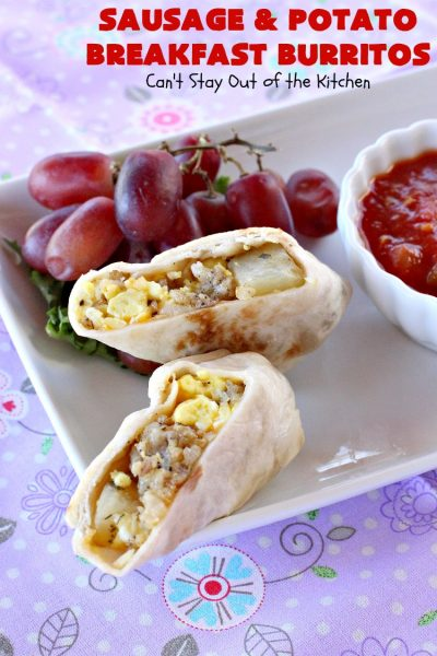 Sausage and Potato Breakfast Burritos | Can't Stay Out of the Kitchen | These fabulous #BreakfastBurritos can be made in advance. Then just microwave them before you leave for work. They include #sausage, #CheddarCheese, #eggs & seasoned #potatoes. Serve with your favorite #salsa, #PicoDeGallo or even #Guacamole! We love this amazing #TexMex #breakfast. #tortillas #SausageAndPotatoBreakfastBurritos