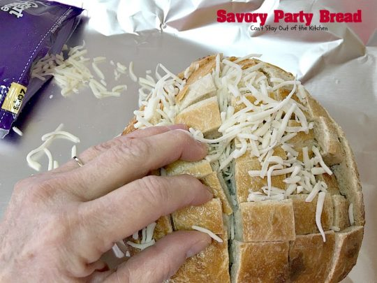 Savory Party Bread | Can't Stay Out of the Kitchen | this awesome #bread is a great #appetizer for any party. Quick, easy & so scrumptious you'll be drooling over every bite. #montereyjackcheese