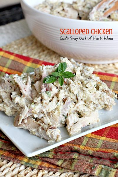 Scalloped Chicken | Can't Stay Out of the Kitchen | this family favorite #chicken entree is so quick and easy using only 6 ingredients. Great way to use up leftover rotisserie chicken, too. #StoveTopStuffingMix
