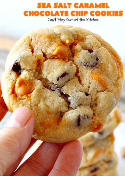 Sea Salt Caramel Chocolate Chip Cookies | Can't Stay Out of the Kitchen | these #cookies are divine! They have double the #caramel & #chocolate chips so they're rich, decadent & heavenly. #dessert