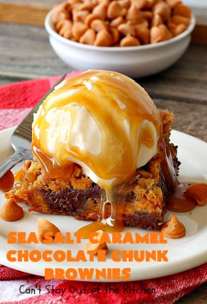 Sea Salt Caramel Chocolate Chunk Brownies | Can't Stay Out of the Kitchen | these fantastic #brownies are so rich & decadent. They're filled with #seasaltcaramel chips & #chocolate chunks. They're perfect for #tailgating parties, potlucks or summer #holiday fun. #dessert #caramel