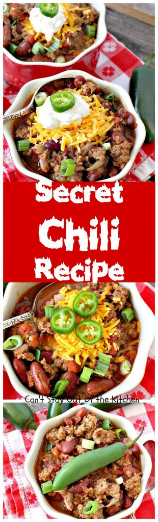 Secret Chili Recipe | Can't Stay Out of the Kitchen | you'll love this family favorite prize-winning #chili with 3 kinds of peppers. #crockpot #beef #kidneybeans #glutenfree