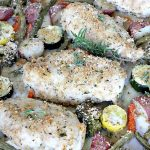 Sheet Pan Parmesan Chicken and Vegetables   Can't Stay Out of the Kitchen   fantastic sheet pan dinner that's so easy & delicious. This one has a delicious #parmesan cheese coating. Perfect for family or company dinners. #chicken #asparagus #glutenfree