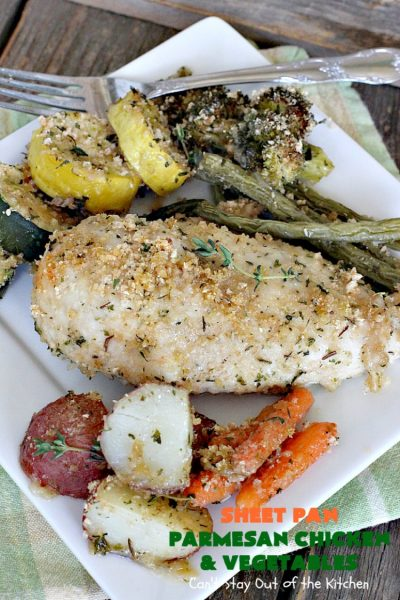 Sheet Pan Parmesan Chicken and Vegetables | Can't Stay Out of the Kitchen | fantastic sheet pan dinner that's so easy & delicious. This one has a delicious #parmesan cheese coating. Perfect for family or company dinners. #chicken #asparagus #glutenfree