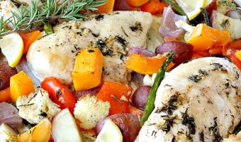 Sheet Pan Roasted Chicken and Vegetables with Lemon Vinaigrette