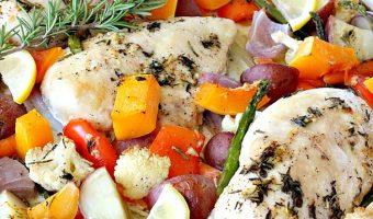 Sheet Pan Roasted Chicken and Vegetables with Lemon Vinaigrette
