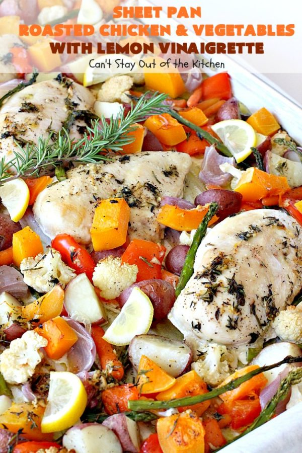 Sheet Pan Roasted Chicken and Vegetables with Lemon Vinaigrette | Can't Stay Out of the Kitchen | amazing one-pan meal with a delicious #lemon #vinaigrette drizzled over the top. #chicken #carrots #butternutsquash #cauliflower #asparagus #glutenfree
