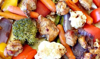 Sheet Pan Spicy Balsamic Roasted Chicken Dinner