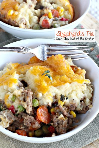 Shepherd's Pie | Can't Stay Out of the Kitchen | the BEST #Shepherd'sPie ever! Love this recipe. #beef #glutenfree #potatoes #Italiansausage