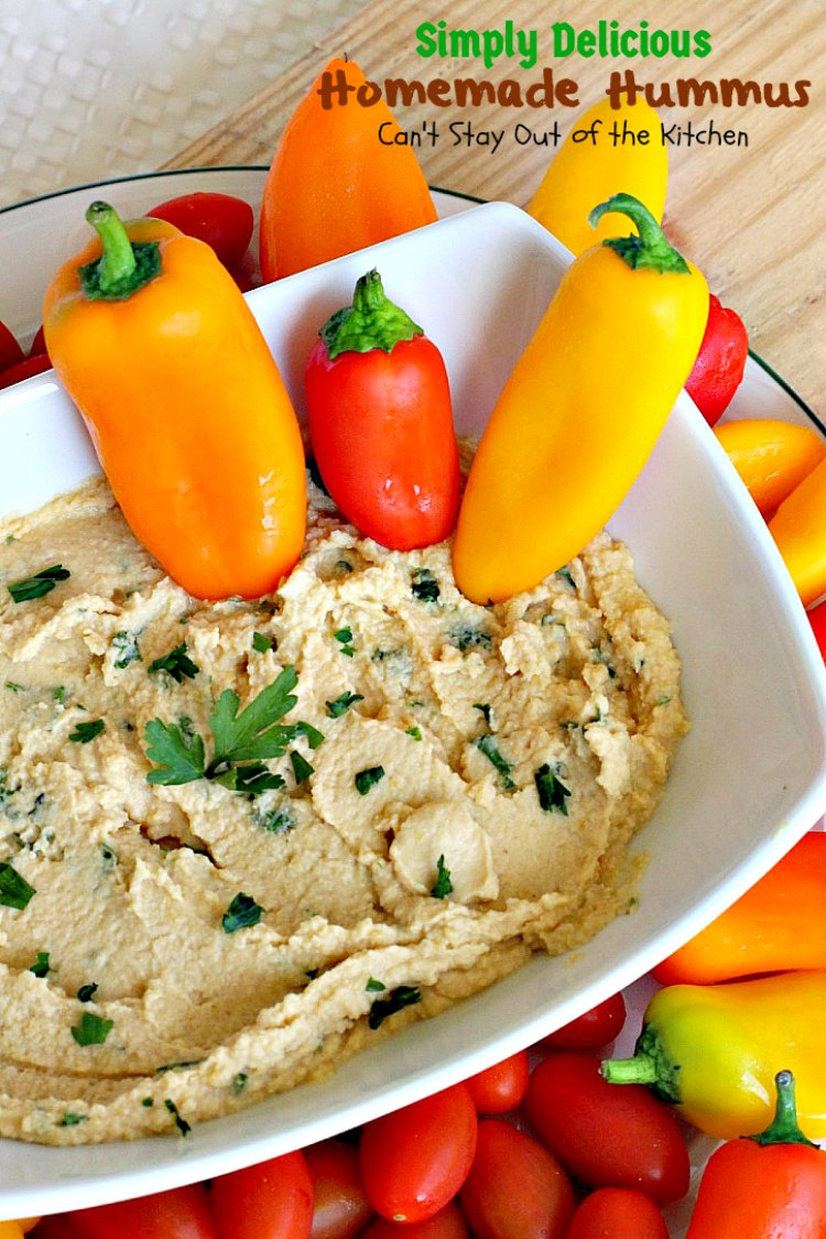 Simply Delicious Homemade Hummus | Can't Stay Out of the Kitchen | delicious #hummus recipe that's healthy, low calorie, #vegan & #glutenfree. Great #appetizer for #tailgating parties, too.
