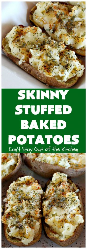 Skinny Stuffed Baked Potatoes | Can't Stay Out of the Kitchen | Indulge in these amazing #StuffedBakedPotatoes but without all the calories! These #potatoes are topped with an incredible combination of herbs which season the food rather than bacon or cheese. Terrific for #holidays like #Easter, #MothersDay or #FathersDay. #GlutenFree #BakedPotatoes #SkinnyStuffedBakedPotatoes #PotatoSideDish #HolidaySideDish #LowCalorie #Healthy