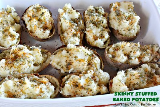 Skinny Stuffed Baked Potatoes   Can't Stay Out of the Kitchen   Indulge in these amazing #StuffedBakedPotatoes but without all the calories! These #potatoes are topped with an incredible combination of herbs which season the food rather than bacon or cheese. Terrific for #holidays like #Easter, #MothersDay or #FathersDay. #GlutenFree #BakedPotatoes #SkinnyStuffedBakedPotatoes #PotatoSideDish #HolidaySideDish #LowCalorie #Healthy