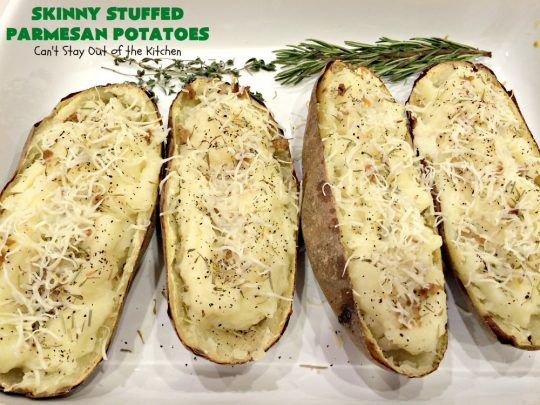Skinny Stuffed Parmesan Potatoes | Can't Stay Out of the Kitchen | these fabulous #potatoes are terrific for company or #holiday meals. A little #ParmesanCheese & #Italian spices make them incredibly delicious. #Easter #EasterSideDish #HolidaySideDish #FathersDaySideDish #StuffedBakedPotatoes #ParmesanPotatoes #SkinnyStuffedParmesanPotatoes #GlutenFree #GlutenFreeSideDish