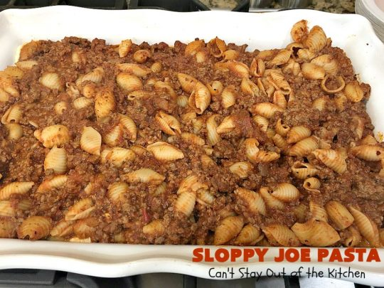 Sloppy Joe Pasta | Can't Stay Out of the Kitchen | this easy, 6-ingredient #recipe is kid-friendly & so delicious. It has a #TexMex flair with #SloppyJoeMix & an #Italian flair with #pasta. It uses both #CheddarCheese & #RicottaCheese. Amazing comfort food #casserole. #GroundBeef #SloppyJoes #SpaghettiSauce #SloppyJoePasta
