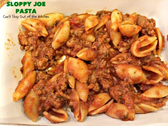 Sloppy Joe Pasta | Can't Stay Out of the Kitchen | this fantastic 6-ingredient #pasta #recipe is super quick & easy for weeknight dinners. It tastes like eating #SloppyJoes but in pasta form! So delicious. #groundbeef #CheddarCheese #RicottaCheese #TexMex #casserole