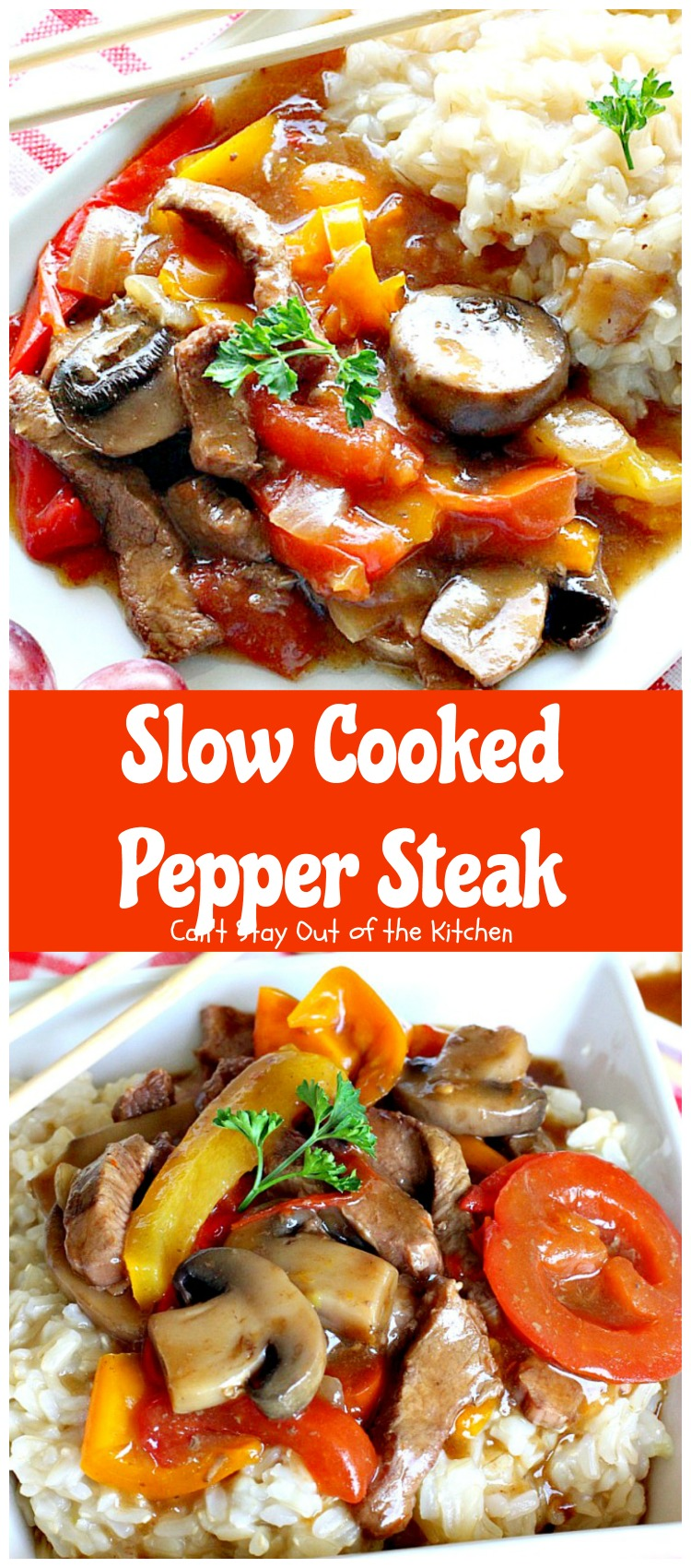 Slow Cooked Pepper Steak | Can't Stay Out of the Kitchen