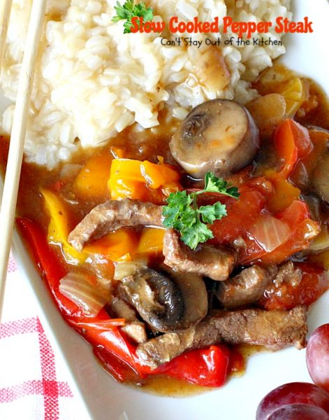 Slow Cooked Pepper Steak | Can't Stay Out of the Kitchen | No time for a difficult, time consuming meal? Try this great #beef entree that cooks in the #crockpot. #glutenfree #bellpeppers #mushrooms