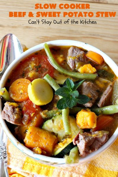 Slow Cooker Beef and Sweet Potato Stew | Can't Stay Out of the Kitchen | this delicious #stew is chocked full of fresh #veggies. Because everything is tossed into the #SlowCooker, it makes for a really easy weeknight meal. Tasty, savory & delicious comfort food for cold, winter nights. #Healthy #CleanEating #LowCalorie #GlutenFree #beef #tomatoes #zucchini #StewBeef #Crockpot #soup #GreenBeans #YellowSquash #SweetPotatoes #SlowCookerBeefAndSweetPotatoStew