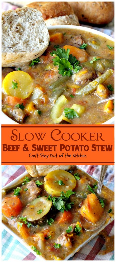 Slow Cooker Beef and Sweet Potato Stew | Can't Stay Out of the Kitchen