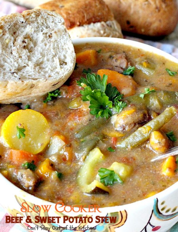 Slow Cooker Beef and Sweet Potato Stew | Can't Stay Out of the Kitchen | this #stew is hearty, filling and so satisfying. It has a delightful combination of textures and flavor. Plus it's made with #cleaneating ingredients so it's healthy, low calorie #glutenfree & #dairyfree. #beef #soup #sweetpotatoes