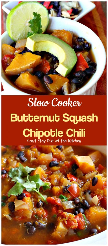 Slow Cooker Butternut Squash Chipotle Chili | Can't Stay Out of the Kitchen