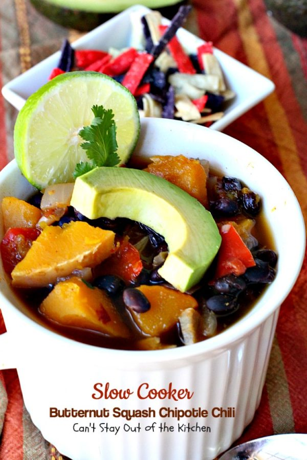 Slow Cooker Butternut Squash Chipotle Chili   Can't Stay Out of the Kitchen   this wonderful #chili includes #butternutsquash #blackbeans & #chipotle peppers making it incredibly delicious. #Tex-Mex #soup #vegan #glutenfree