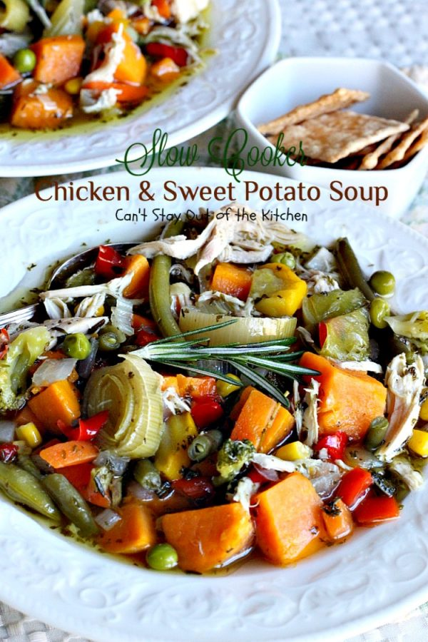 Slow Cooker Chicken and Sweet Potato Soup | Can't Stay Out of the Kitchen | this heavenly #soup is made in the #crockpot making it so easy. It's a wonderful fall or winter soup when you want a delightful comfort food for dinner. #chicken #veggies #sweetpotatoes