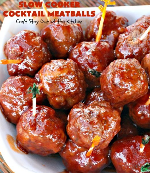 Slow Cooker Cocktail Meatballs | Can't Stay Out of the Kitchen | this favorite #meatballs recipe includes grape jelly & #SweetBabyRays #BBQ sauce! It's fabulous for #tailgating, #NewYearsEve or #SuperBowl parties. So easy, too! #appetizer