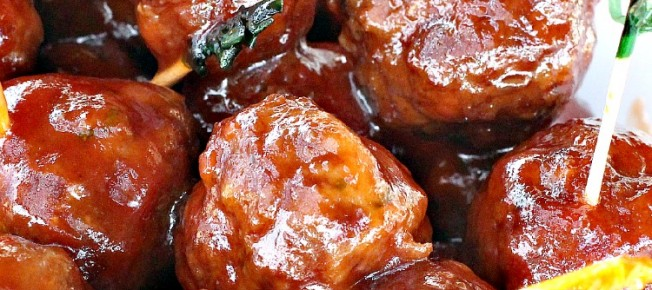 Slow Cooker Cocktail Meatballs | Can't Stay Out of the Kitchen | these fabulous #meatballs are made with #SweetBabyRays and #grapejelly! They're great #SuperBowl or #tailgating fare. #slowcooker #appetizer