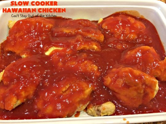 Slow Cooker Hawaiian Chicken | Can't Stay Out of the Kitchen | this fantastic #chicken entree can be made either in the #slowcooker or on top of the stove. The delicious sweet & sour #pineapple sauce makes this #recipe sizzle! Served over #rice, it's a terrific meal for company or family dinners. #glutenfree #Hawaiian #crockpot #sweetandsourchicken