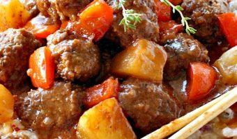 Slow Cooker Parmesan Meatballs in BBQ Pineapple Sauce