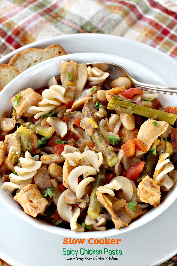 Slow Cooker Spicy Chicken Pasta is so tasty. It's a great meal to ...