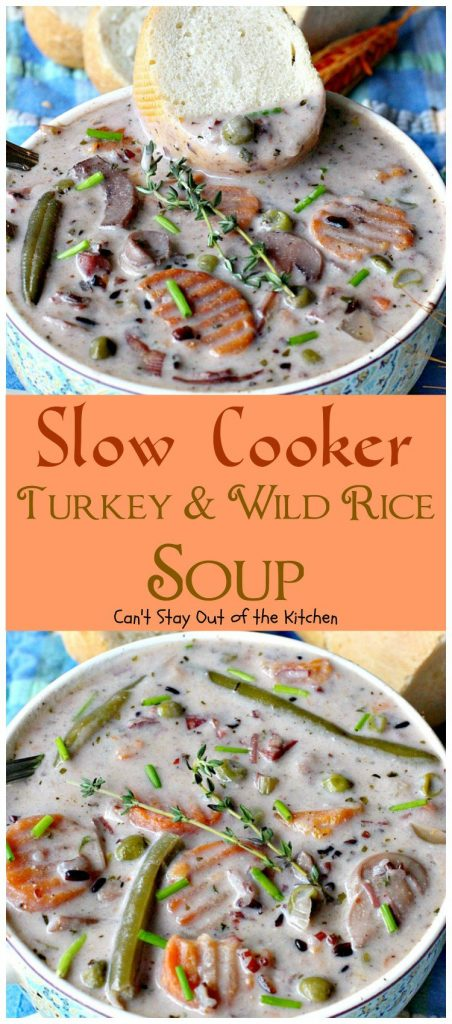 Slow Cooker Turkey and Wild Rice Soup | Can't Stay Out of the Kitchen