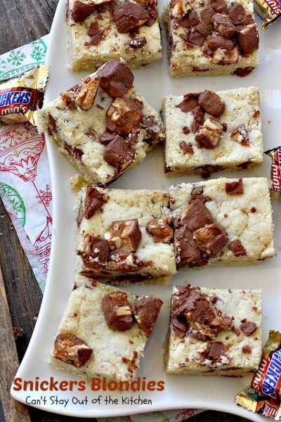 Snickers Blondies | Can't Stay Out of the Kitchen | these outrageous #brownies are divine. #SnickersBars in #cookie dough = awesome! #dessert #cookie #chocolate
