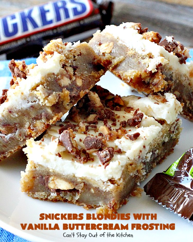 Snickers Blondies with Vanilla Buttercream Frosting | Can't Stay Out of the Kitchen | these outrageous #brownies are divine! The frosting is oh, so heavenly. One bite and you'll be drooling! #dessert #snickers #chocolate